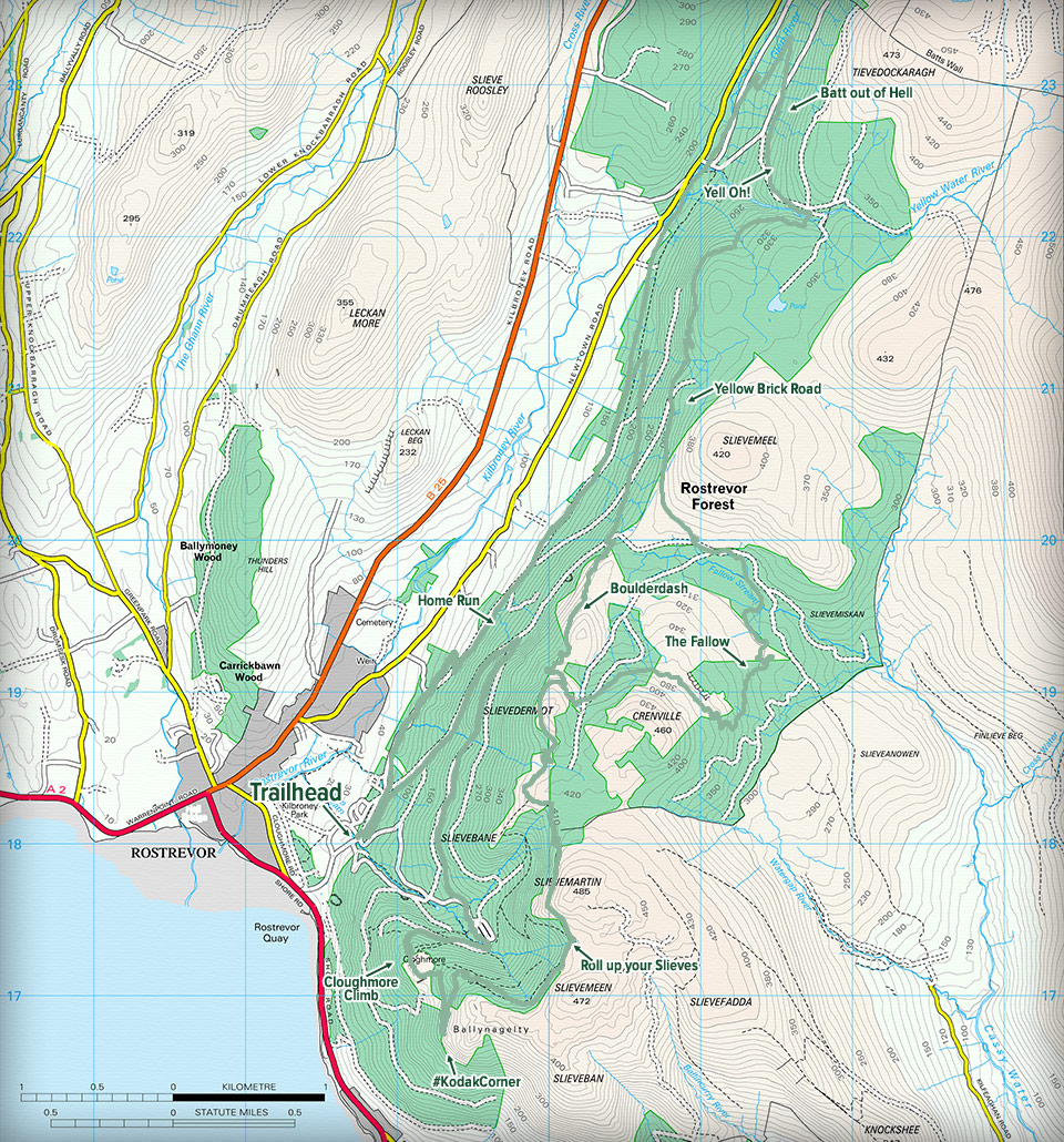 Map Of Ireland With Mountains.Rostrevor Mountain Bike Trails Mountain Bike Trails Ireland